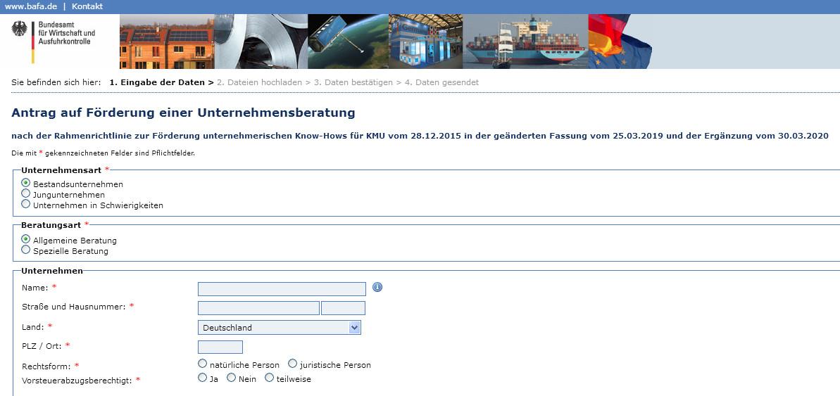 Screenshot: Online-Formular Antrag auf Förderung einer Unternehmensberatung