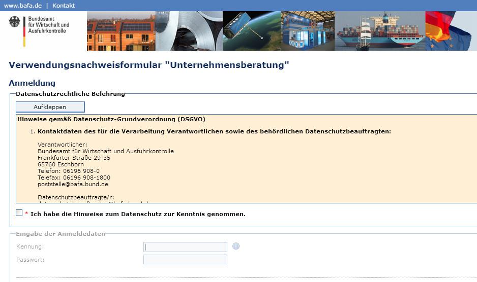 Screenshot: Online-Formular Verwendungsnachweis
